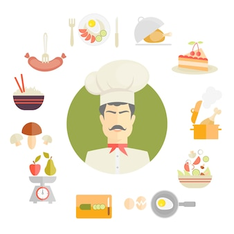 Cooking and food icons in fat style centred around a chef in a traditional toque with a sausage  breakfast