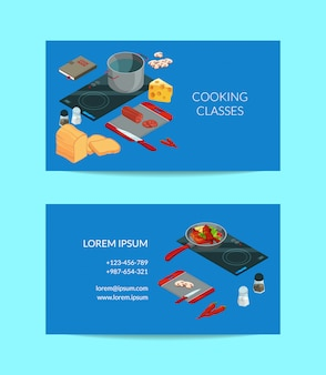 Cooking food isometric business card