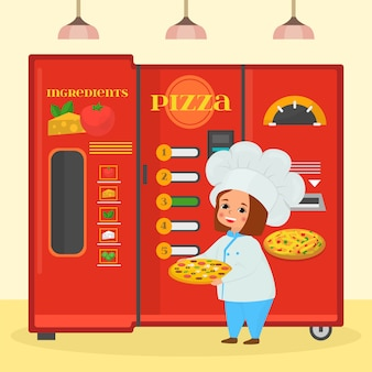 Cooking food at kitchen, girl with pizza  illustration. cartoon cook character near large banner with cuisine ingridient.
