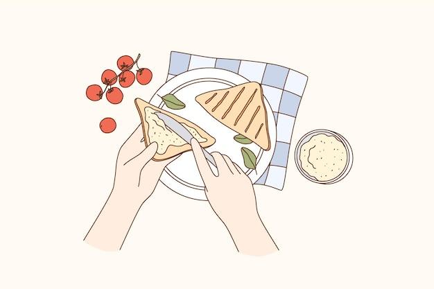요리, 음식 준비, 아침 식사 개념