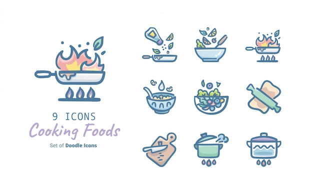 Cooking foods doodle icon collection
