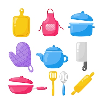 Cooking foods and kitchen outline colorful icons set