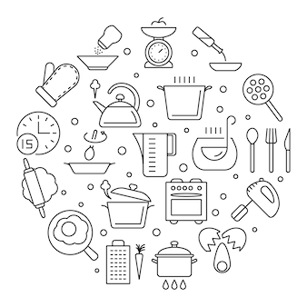 Cooking foods and kitchen tools thin line  icons