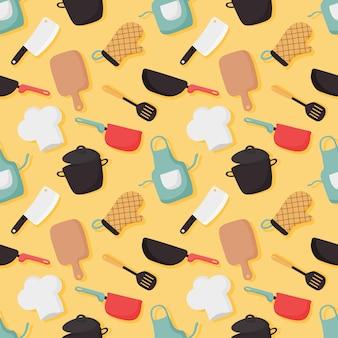 調理食品のシームレスなパターンとキッチンのアイコンは黄色の背景に設定します。