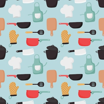Cooking foods seamless pattern and kitchen icons set on blue background.