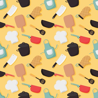 Cooking foods seamless pattern and kitchen icons set on yellow background.