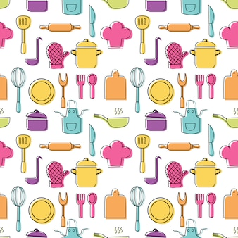 Cooking foods seamless pattern and kitchen outline colorful icons set on white background