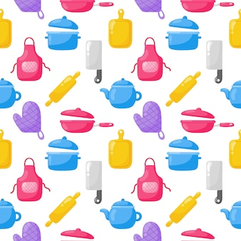 Cooking foods seamless pattern and kitchen outline colorful icons set on white background.