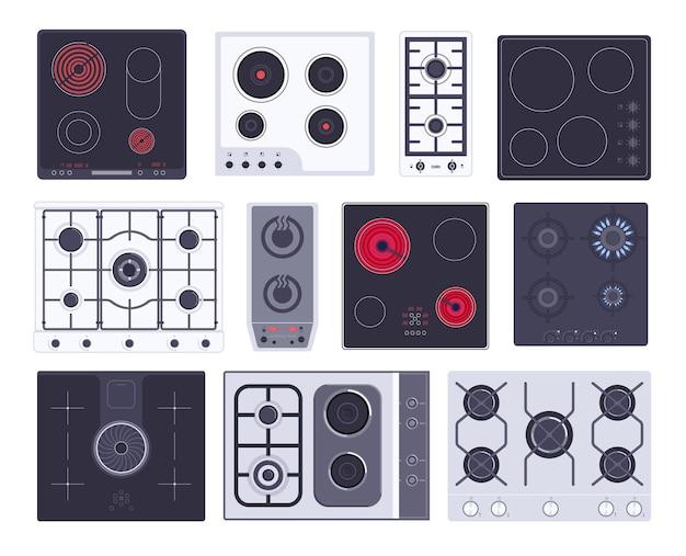 Варочная газовая плита, индукционная панель, электрическая или керамическая плита. решетка, кухонная посуда поверхность бытовой кухонный прибор, кухонная горелка оборудование векторные иллюстрации, изолированные на белом фоне
