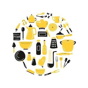 キッチン設備、設備を備えた手描きの抽象的なデザインを調理します。スケッチベクトルイラスト。