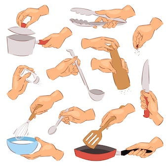 白い背景の上のボウルやナイフで手の台所用品や調理器具のイラストセットを使用してフライパンで食品を準備する調理手シェフ