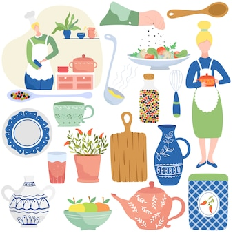 Cooking in home kitchen, isolated icons  illustration