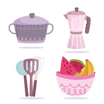Кулинария, иконки горшок, чайник, миска и фрукты стиль иллюстрации