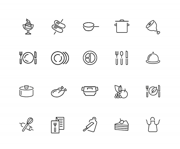 Cooking icons. set of twenty line icons. plate, saucepan, menu