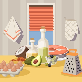 Cooking ingredients on kitchen table, vector illustration. products for healthy meal, organic food recipe.
