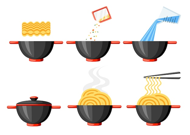 Cooking instruction. instant noodles. flat illustration. black bowl and chopsticks. illustration isolated on white background.