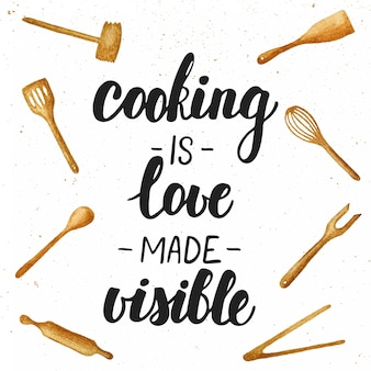 Cooking is love made visible lettering.