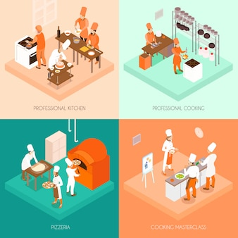 Cooking isometric concept