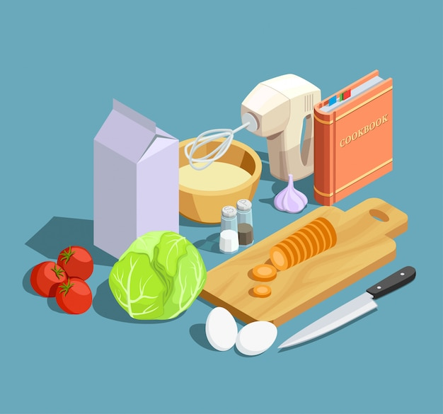 Cooking isometric elements set