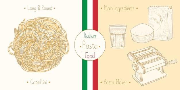 イタリア料理を調理する食感のようなエンジェルヘアパスタカペッリーニ、食材、器材