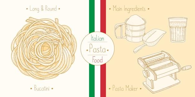 イタリア料理を調理するファージトのようなパスタブカティーニ、食材、器材