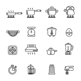 Cooking, kitchen tools and utensils icon set