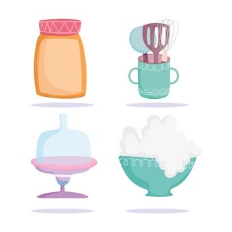 Кулинария, кухонная утварь банка, шпатель, набор иконок чаши иллюстрации