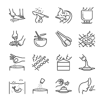 Cooking line icon set.