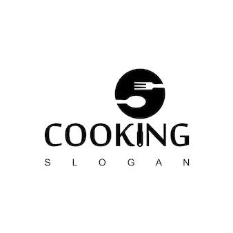 Cooking logo with spoon,fork and teflon symbol
