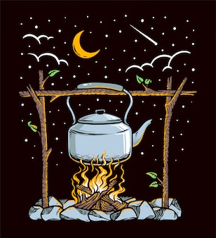 Cooking in nature illustration