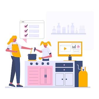 キッチンで料理、漫画風イラスト