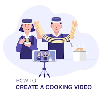 Cooking online course, a young couple asian preparing chinese food and recording with smartphone.