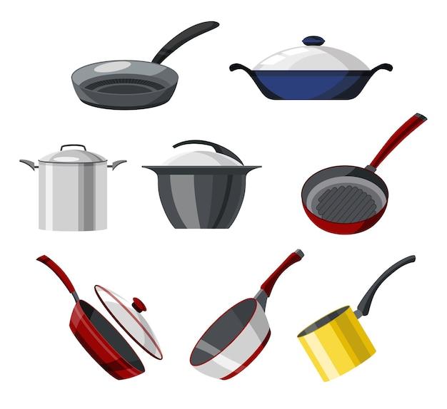 フライパンと鍋のカラフルなベクトル コレクションを調理します。