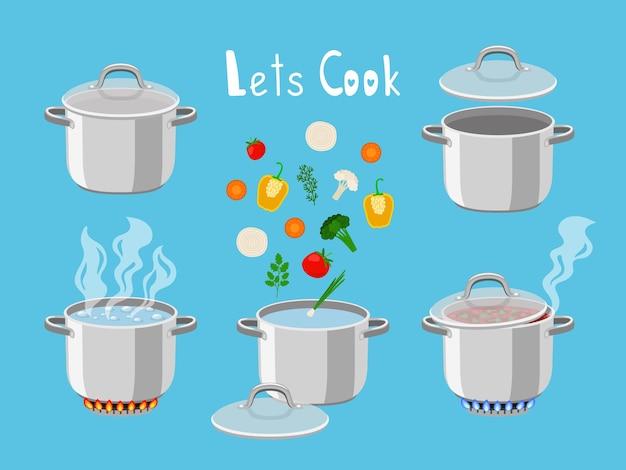 Сковороды с водой. мультяшные объекты кастрюли для кухни из кастрюль с кипящей водой и ингредиентами для приготовления пищи, векторная иллюстрация пылающих газовых горелок, изолированных на синем фоне