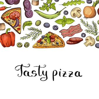Cooking pizza banner and with place for text