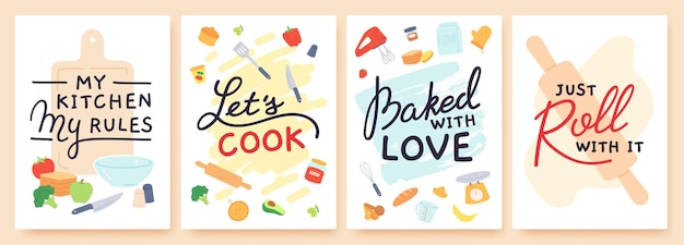 Cooking poster. kitchen prints with utensils, ingredient and inspirational quote. baked with love. food preparation lesson banner vector set. my kitchen my rules, lets cook. food and appliances
