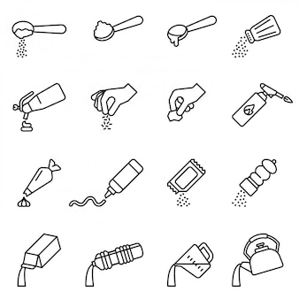 Cooking and preparation instructions. icons set Premium Vector