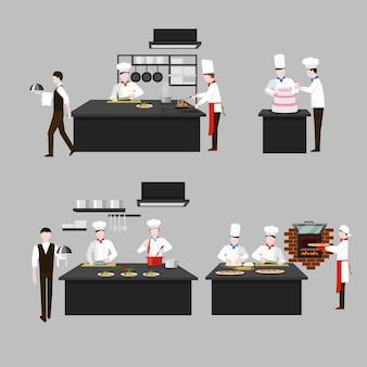 レストランの厨房での調理プロセス。シェフの揚げ物と料理人、キャラクターの人々、ウェイター菓子のスカリオン。平らな