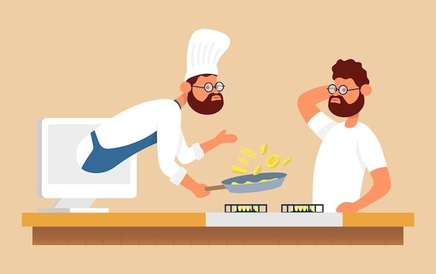 Laptomのシェフとオンラインで調理プロセスインターネット上のラップトップで料理のレシピを見る