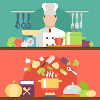 Cooking process vector illustration
