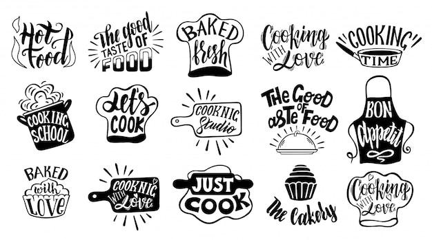 料理関連のタイポグラフィセット。キッチンについての引用。料理の文言。レストラン、メニュー、食品ラベルセット。料理、キッチン、料理のアイコンまたはロゴ。レタリング、書道イラスト