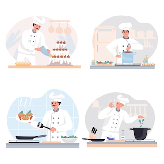Cooking at restaurant concept scenes set Premium Vector