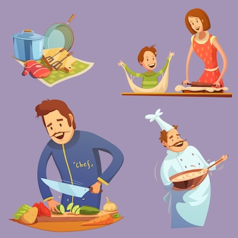 Cooking retro cartoon icon set