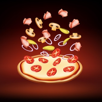 Cooking round pizza with meat, onion, tomatoes, mushrooms, and cheese on red background