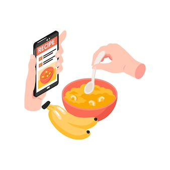 Cooking school isometric illustration with human hands holding spoon and smartphone with recipe