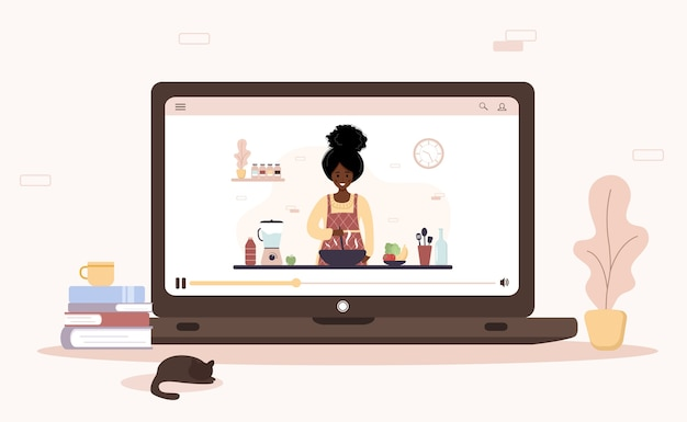 Cooking school. online culinary master class. african girl preparing homemade meals for lunch or dinner. the chef teaches to cook. learning at home. flat cartoon illustration.
