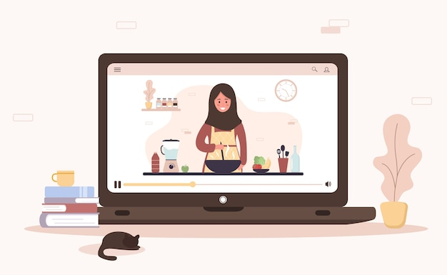 Cooking school. online culinary master class. arab girl in hijab preparing homemade meals