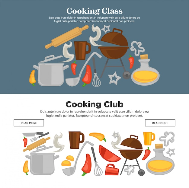 Cooking school vector kitchenware web banners
