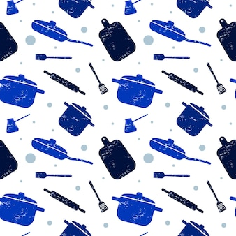 Cooking seamless pattern in blue kitchen utensils for packaging design paper background