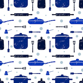 Cooking seamless pattern kitchen utensils in blue color for packaging design paper background